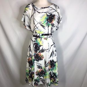Reiss size 6 white watercolor belted dress